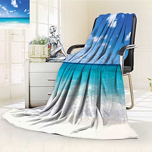 Luxury Double-sides Reversible Fleece Duplex printed blanket Ocean Tropical Exotic Sandy Caribbean Sea Bay Barbados Coastline Summertime Blue Aqua Coconut Travelling and Camping blanket /W79