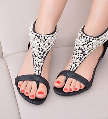NiSeng Mujer Verano Bohemia Sandalias Diamante De Imitación Chanclas Con Cuentas Cuña Zapatos Clip Toe Zapatillas Sandals Negro