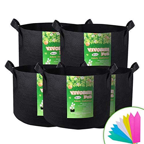 VIVOSUN 5-Pack 20 Gallon Plant Grow Bags, Premium Series Thichkened Non-Woven Aeration Fabric Pots w/Handles - Reinforced Weight Capacity & Extremely Durable (Black) (Gardening Grow Bags)