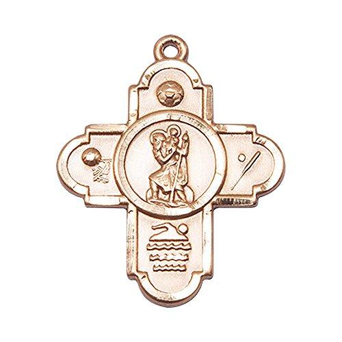 14kt Gold 5-Way St Christopher/Sports Medal. Patron Saint of Travelers/Motorists (14kt 5 Medal Way)