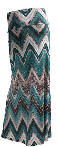 Gravity Threads Women's Fashion Designer Pattern Span Maxi Skirt, T Blue Chevron