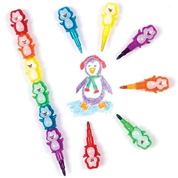 Baker Ross Lápices apilables infantiles en forma de pingüino para colorear y decorar (pack de 4): Amazon.es: Juguetes y juegos