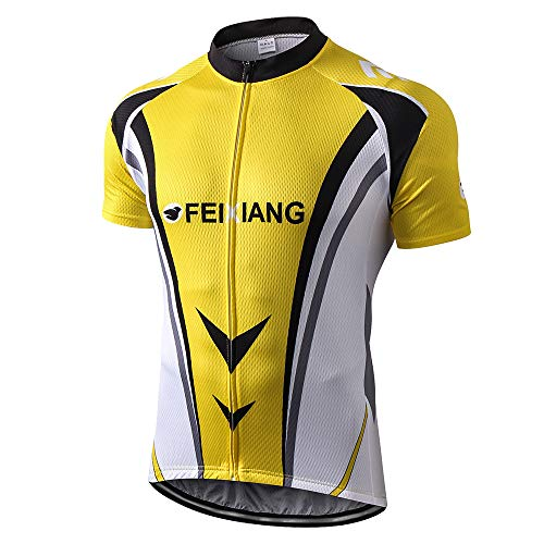 Speed Mesh Jacket - FEIXIANG Men's Cycling Jersey, Cool Dry Short Sleeve Bike Shirts Bicycle Top with Pockets Zipper Biking Jacket Yellow