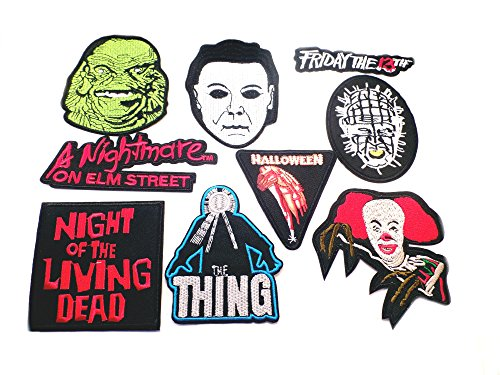 [9PK Assortment Horror Film Theme DIY Easy Iron/Sew-on Embroidered Patches By Superheroes Brand] (Diy Hellraiser Costume)