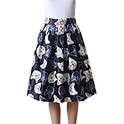 Femirah Women's Vintage Floral Pleated Midi Skirt Skater Skirt (Black Cat)