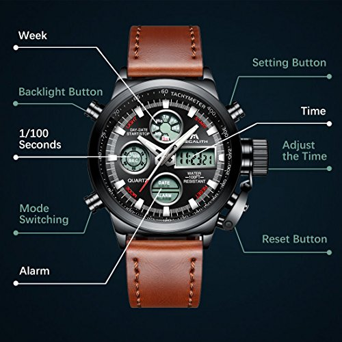 Mens-Sports-Watches-Men-Military-Waterproof-Big-Face-Analog-Digital-Brown-Leather-Band-Wrist-Watch