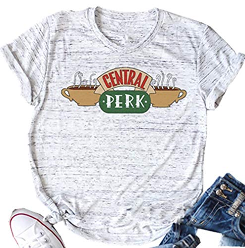 NENDFY Central Perk Friends T Shirt Women's Friends TV Show Graphic Cute Tees Short Sleeve Casual Tops (Medium, Grey)