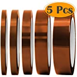 """Selizo High Temp Tape, 5 Pack Multi – Sized 1/8"""", 15/64"""", 15/64"""", 15/32"""", 5/64"""", Heat Resistance Up to 280℃ (536℉)"""