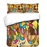 iPrint 3Pcs Duvet Cover Set,Board Game,Wild West Concept Country Landscape Cowgirl America Cactus Childrens Nursery Decorative,Multicolor,Best Bedding Gifts for Family/Friends
