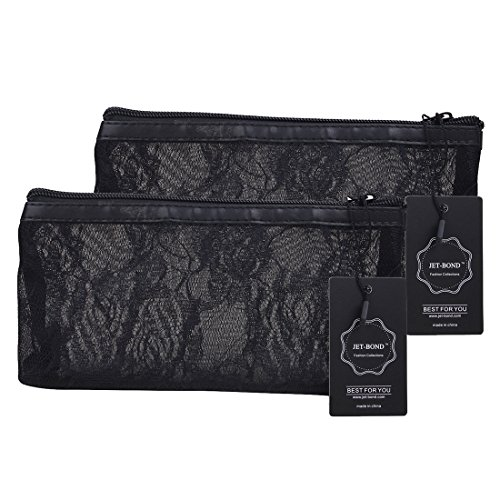 JET-BOND JJ17 Black Lace Transparent Organizer Purse Clutch Zipper Bag Set of 2 (Black set of 2)