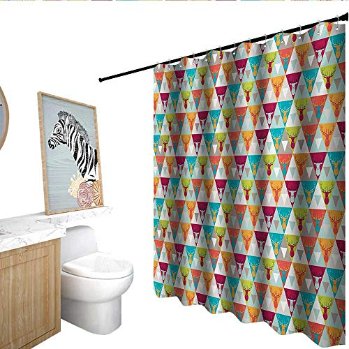 Indie Polyester Shower Curtain Triangles Pattern with Deer Elk Portraits Geometric Colorful Funky Hipster Tile Urban Shower Curtain bar Multicolor (Portrait Elk)