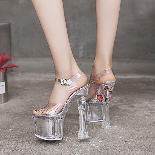 XiaoGao les sandales de 18 cm de talon haut cristal transparent