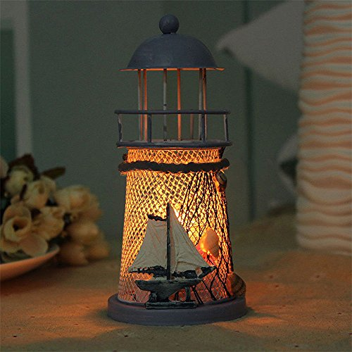 Theme Candle Lighting - ❤Ywoow❤ Silicone cage, 14cm Lighthouse Iron Candle Holder Nautical Beach Anchor Decoration Wedding