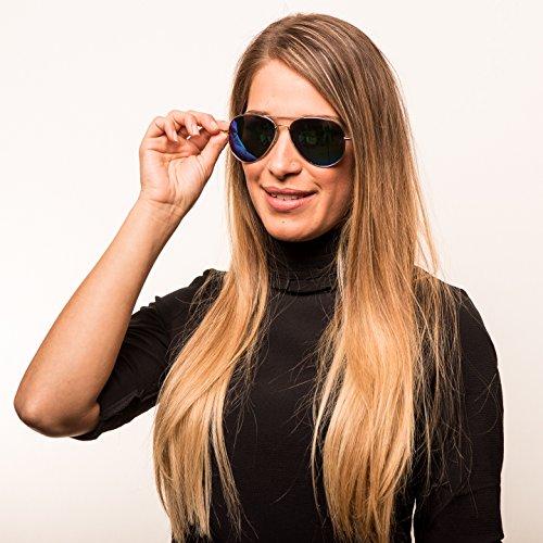 Ice de aviador Gafas Años Gafas de Década Y Gold Mujeres De de Hombres Gafas de reflectante Gafas 70 Sol sol Piloto los fxw1EqU4n