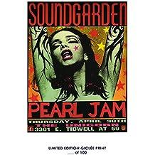 RARE POSTER thick concert SOUNDGARDEN PEARL JAM 1992 music REPRINT #'d/100!! 12x18
