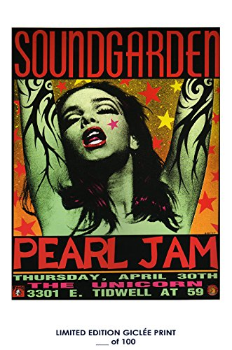 RARE POSTER thick concert SOUNDGARDEN PEARL JAM 1992 music REPRINT #'d/100!! 12x18