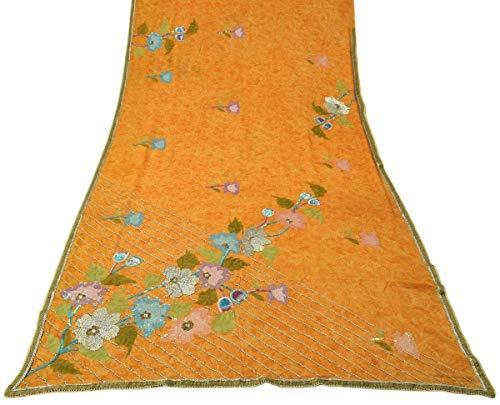 Georgette Silk Beaded - Vintage Saree 100% Pure Georgette Silk Beaded Embroidered Printed Sari Fabric