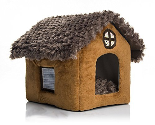 Pet House Supplies Dog House Brown Cottages Cat Dog Bed House Kennel Doggy Warm Cushion Basket