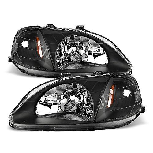 ACANII - For 1999-2000 Honda Civic 2/3/4Dr JDM Style Blk Headlights Headlamps Driver + Passenger Side - Jdm Style Black Headlights