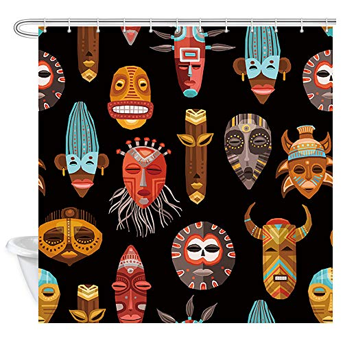 African Shower Curtain West Decor, African Ritual Ethnic Tribal Masks Bath Curtains, Fabric Bathroom Curtains Accessories 12PCS Shower Hooks, 69X70 in Black
