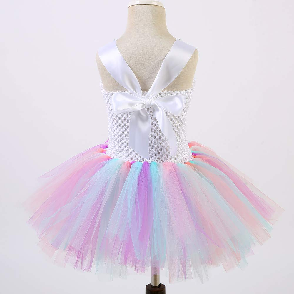 Unicorn Costume for Girls Dress Up Clothes for Little Girls Rainbow Unicorn Tutu with Headband Birthday Gift by rainbow estrella (Image #3)