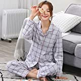 MOXIN Autumn and Winter ladies Pajamas Long Sleeves Set Lattice Home Service , m (100% pure cotton) , lattice