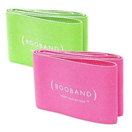 Booband fascia seno reggiseno regolabile donna, alternativa al reggiseno sportivo Confezione da 2 Verde Neon e Rosa