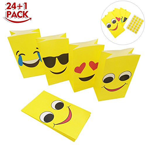 Emoji Paper Bags - Emoji Party Favors Treat Goody Bags for Kids Birthday Christmas Halloween Gift Candy Filling - Pack of 24 with 1 Sheet Emoji (Halloween Treat For Kids)