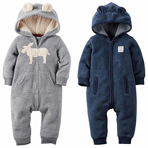 810807412 Carter s Baby Boys 1 Pc Hooded Fleece Romper Jumpsuit