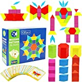 Lewo Wooden Pattern Blocks Classic Educational Montessori Toys Tangrams Set for Kids with 130 Geometric Shape Pieces and 24 Design Cards