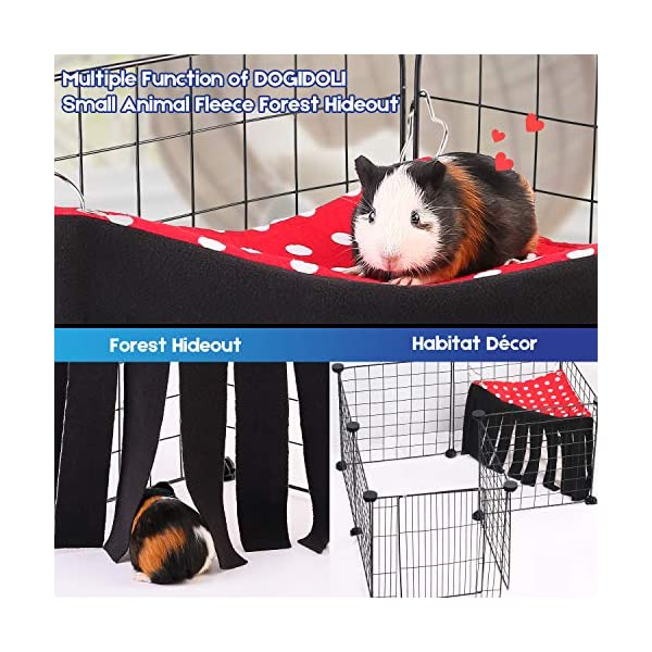 DOGIDOLI Sky Blue, Pink, Purple, Green & Strawberry Red Guinea Pig Hideout, Corner Fleece Forest Hideaway for Guinea Pigs, Ferrets, Chinchillas, Rats, Bunny & Other Small Animals Without Metal Fences 2