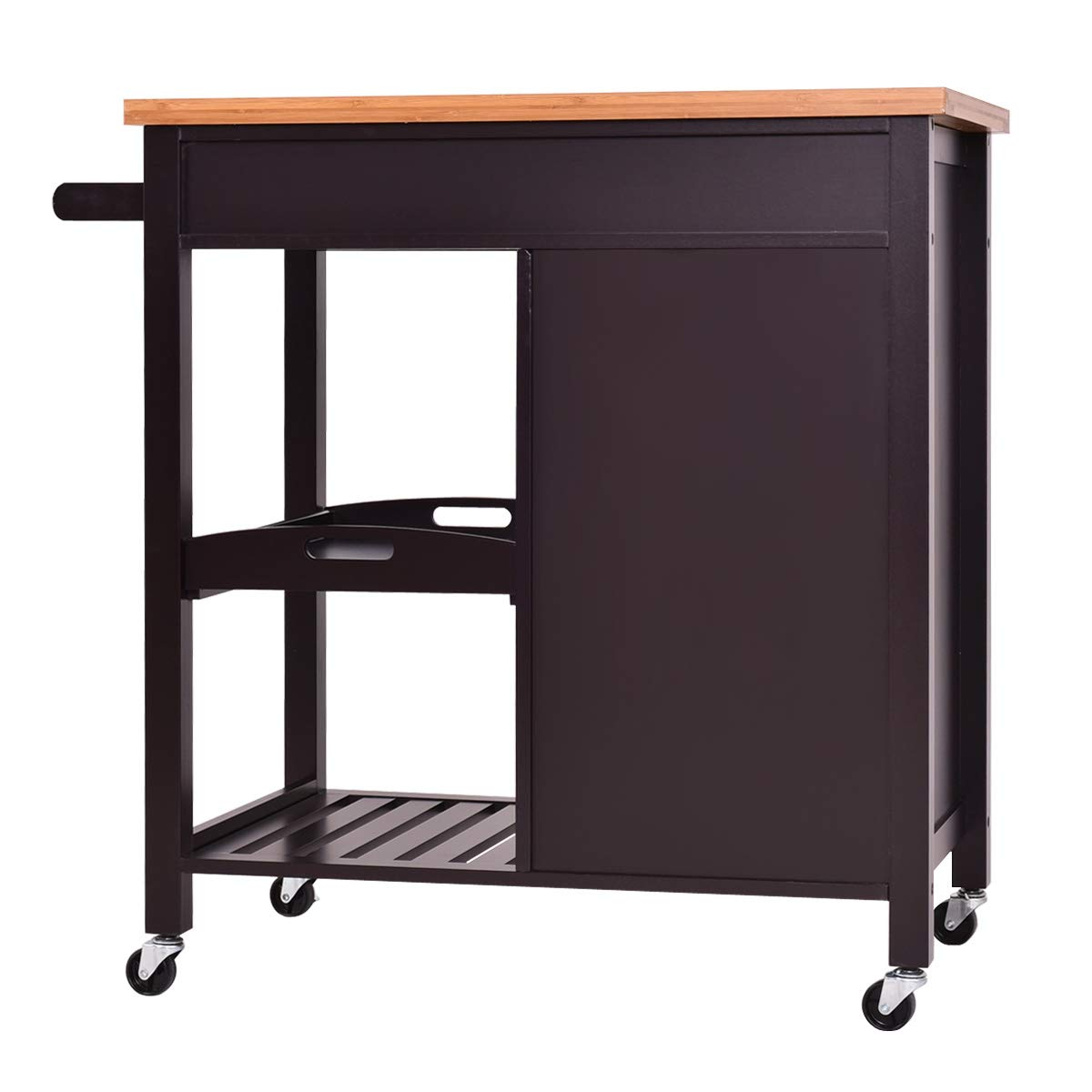 Giantex Kitchen Trolley Cart Wood Rolling Island Cart Home Restaurant Kitchen Dining Room Serving Utility Cart w/Bamboo Top Storage Cabinet Bigger Drawer Removable Tray Shelf, Brown by Giantex (Image #8)
