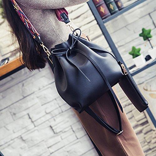 Women Textured Faux Leather Drawstring Style Mini Handbag Bucket Shoulder Bag (Black2) by Shayin (Image #2)