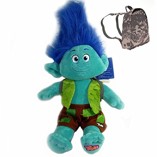 [Build-A-Bear Trolls Branch Happy Troll Doll in Branch Costume Branch Voice and FREE Backpack Set] (Stuffed Bear Costume)