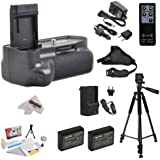 Professional Vertical Battery Grip Kit + Sure Grip Technology for Canon EOS Rebel T3 T5 1100D 1200D Kiss X50 Digital SLR Includes 2 Extended Life Canon LP-E10 LPE10 Battery Packs