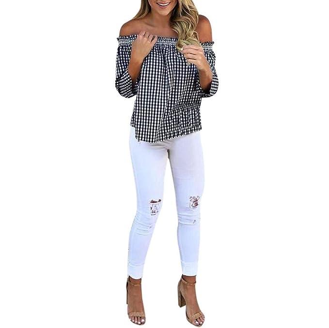 Mujer Camisas Primavera Otoño Camisetas Elegantes Moda Vintage Ocasional Hipster Basic Tops Color Sólido Trompeta Manga V-Cuello Splice Encaje Shirts ...