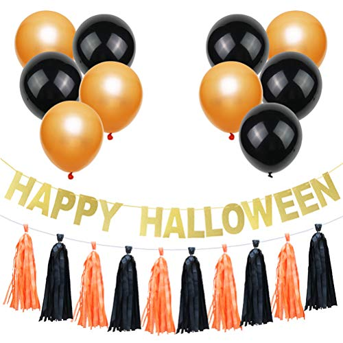 Amosfun Latex Balloon Set Paper Letter Banner Happy Halloween Party Decoratie Home Decor 12PCS