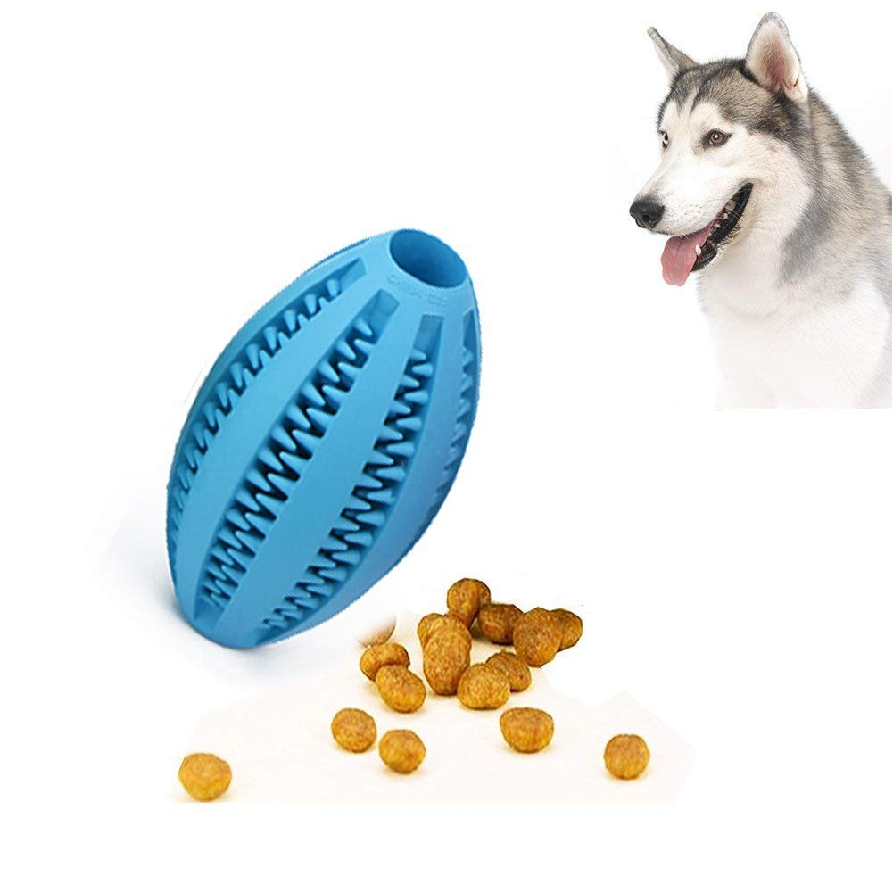 bluee ADog Toy Ball, Nontoxic Bite Resistant Toy Ball,Dog Chew Ball Toy Tooth Cleaning Dental Treat for Pet Dogs Puppy Cat, Dog Pet Food Treat Chewing Training Playing