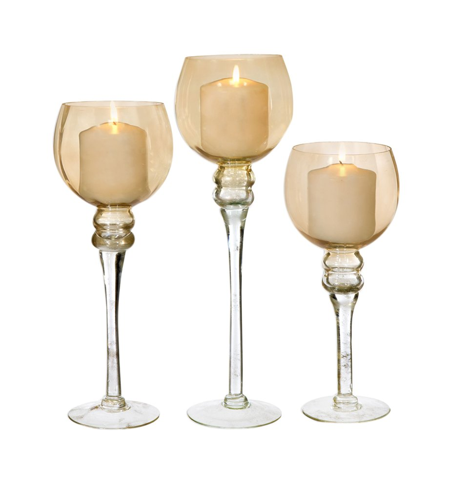 Amber Hurricane 3-Piece Tea Light Set