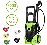 Korie Professional 3000PSI Electric High Pressure Washer - 1800W 1.8GPM Sprayer Cleaner Machine with Spray Hose Nozzle Gun And 5 Quick-Connect Spray Tips