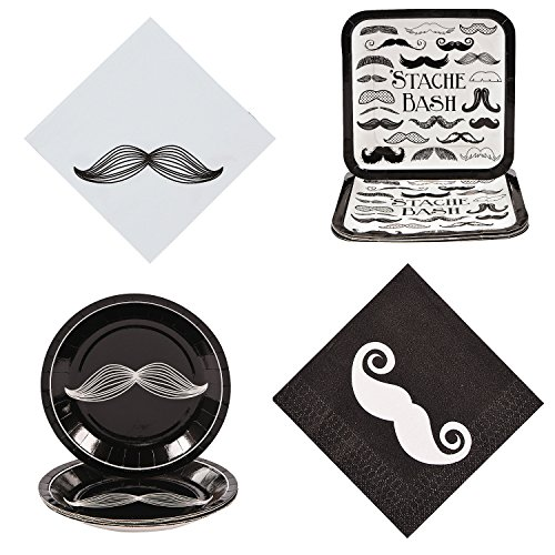 William & Douglas Mustache Bash Party Bundle Supplies for Mustache Man Theme Birthday Party | Paper Plates and Napkins