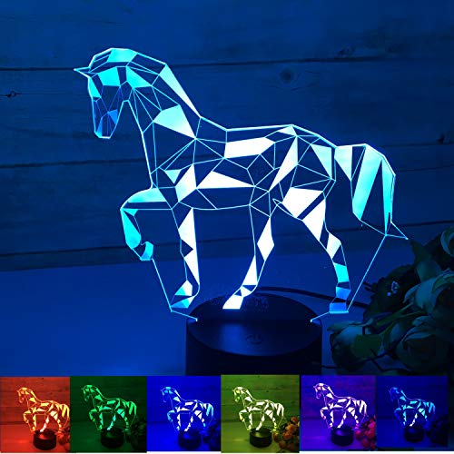 3D Horse Lamp Night Light,3D Illusion LED Lamp 7 Color Changing LED Acrylic Lamp Perfect Xmas Birthday Gifts for Kids Girls Boys Babys
