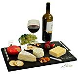 Large Handcrafted Natural Slate Cheese Board/Charcuterie Platter with Soapstone Chalk & Cheese Markers - A Great Holiday Gift for all Gourmets