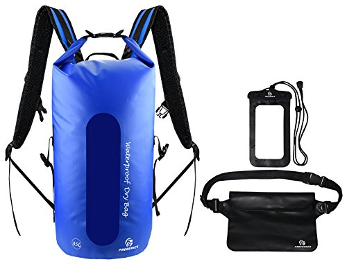 Waterproof Dry Bags Set Of 3 By Freegrace - Dry Bag With 2 Zip Lock Seals & Detachable Shoulder Strap, Waist Pouch & Phone Case - Can Be Submerged Into Water For Swimming, Kayak, Rafting Navy Blue 35L