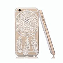 For Iphone 6 case, Let it be Free Henna Full Mandala Floral Dream Catcher Plastic Case Cover for Iphone 6 4.7 Inch Screen (Not for Iphone 6 Plus)-White Dream