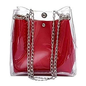Wultia - Women Small Bucket Bags Plastic Transparent Totes Composite Chain Bag Female Mini Jelly Handbags Bolsa Feminina Red