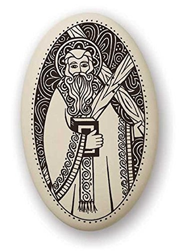 (Touchstone St Andrew Porcelain Oval Medal on Braided Cord | Patron Saint of Scotland, Russia and Fishermen)