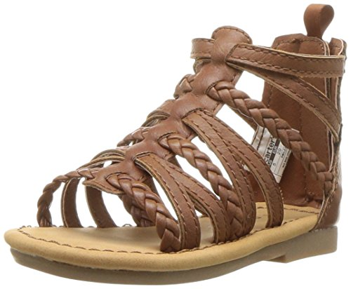 Price comparison product image Carter's Girls' Smile Gladiator Sandal, Brown, 6 M US Toddler