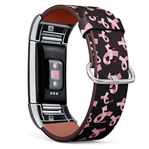 S-Type Leather Bracelet Watch Band Strap Replacement Wristband Compatible with Fitbit Charge 2 - Pink Ribbon Pattern Breast Cancer Awareness ()