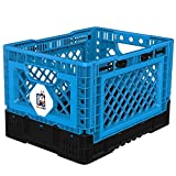 BIGANT Heavy Duty Collapsible & Stackable Plastic Milk Crate - IP403026, 26 Quarts, Small Size, Blue, Set of 1, Absolute Snap Lock Foldable Industrial Storage Bin Container Utility Basket